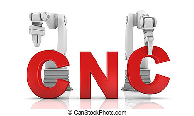 costruzione, industriale, parola, braccia, cnc, robotic