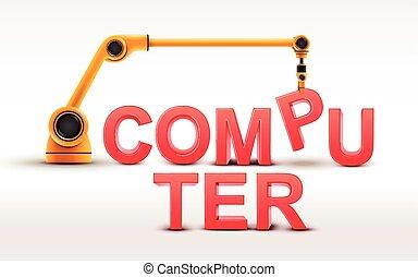 costruzione, industriale, parola, computer, braccio robotizzato