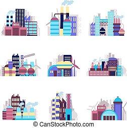 costruzione, industriale, set, icone