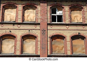 costruzione, industriale, vecchio, parete, windows, fondo