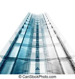 costruzione, interpretazione, astratto, concept., 3d