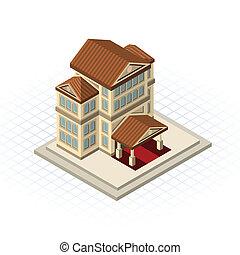 costruzione, isometrico, banca