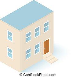 costruzione, isometrico, casa, isolato, vettore, bianco