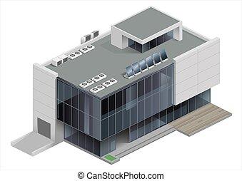 costruzione, isometrico, centro commerciale