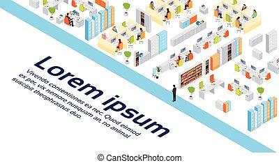 costruzione, isometrico, lavorativo, centro, spazio ufficio, moderno, businesspeople, affari, interno, copia, 3d