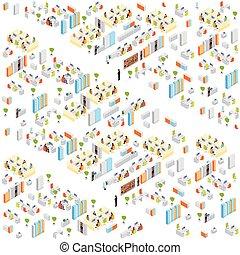 costruzione, isometrico, lavorativo, centro, ufficio, moderno, businesspeople, affari, interno, 3d