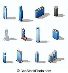costruzione, isometrico, moderno, set, grattacielo