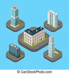 costruzione, isometrico, set, isolato