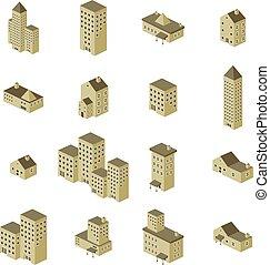 costruzione, isometrico, set