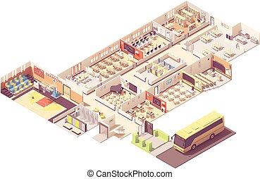 costruzione, isometrico, vettore, sezione trasversale, scuola