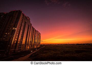 costruzione, it., kadorr, alto, campo, tramonto, riflessioni