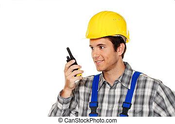costruzione, lavorante, -, giovane, idraulica, artigiani