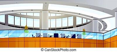 costruzione, lavorativo, centro, spazio ufficio, affari moderni, interno, riunione, salone