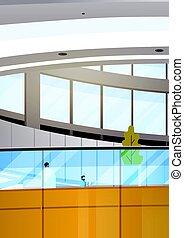 costruzione, lavorativo, centro, ufficio, moderno, businesspeople, affari, interno, riunione