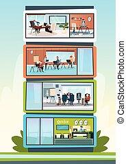 costruzione, lavorativo, centro, ufficio, moderno, businesspeople, affari, interno