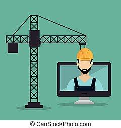 costruzione, lavoratore, desktop