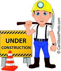 costruzione, lavoratore, giovane, segno