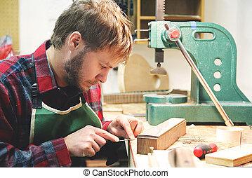 costruzione, legno, suo, lavorativo, luthier, chitarra,...