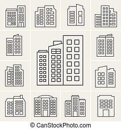 costruzione, linea, set, illustrazione, icone