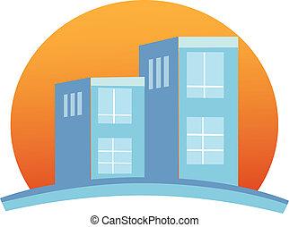 costruzione, logotipo, appartamenti