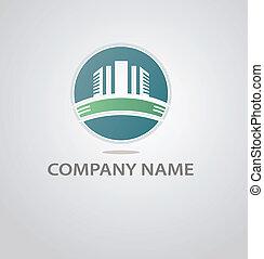 costruzione, logotipo, astratto, silhouette, architettura