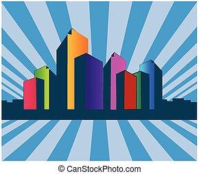 costruzione, logotipo, orizzonte, beni immobili