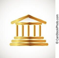 costruzione, logotipo, oro, colonne