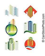 costruzione, logotipo, set, architettonico