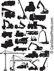 costruzione, macchina, silhouette