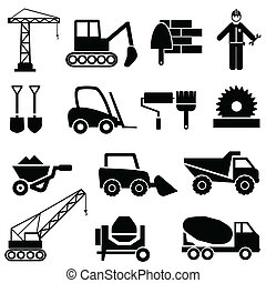 costruzione, macchinario industriale, icone