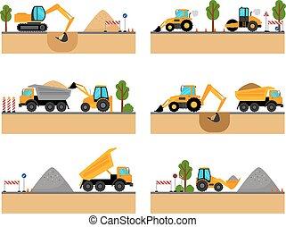 costruzione, macchinario, vettore, luogo, icone