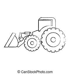 costruzione, mano, macchina, monocromatico, disegno, caricatore, contorno, trattore