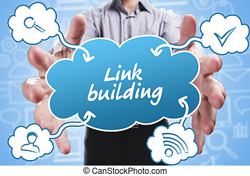 costruzione, marketing., tecnologia, pensare, about:, giovane, affari, collegamento, internet, uomo affari