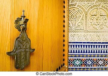 costruzione, marocco, foto, dettaglio, riad, fondo