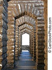 costruzione, marrone, pietra, vecchio, passaggio ad arco, marmo