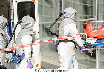 costruzione, materiale pericoloso, entrare, squadra, medico