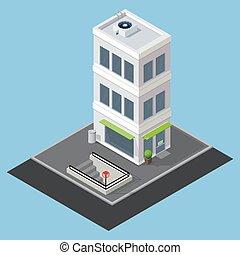 costruzione, metro, isometrico, vettore, stazione