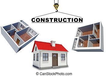 costruzione, modelli, gru, pavimento