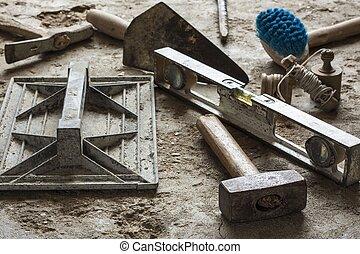 costruzione, muratura, cemento, mortaio, attrezzi