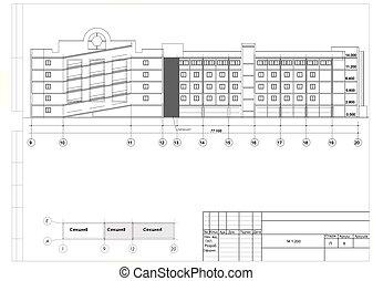 costruzione, negozio, sezione, produzione, ricostruzione