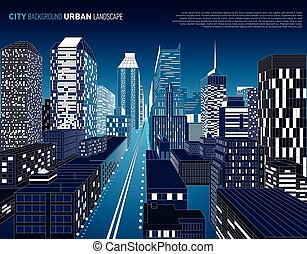 costruzione, night., vista., prospettiva, architettonico