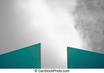 costruzione, nubi, cima, moderno, cielo, vetro, corporativo