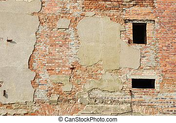costruzione, parete, fondo, rovinato