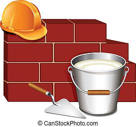 costruzione, parete, mattone, cazzuola, icona