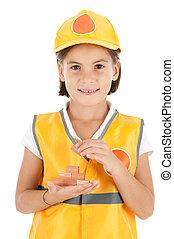 costruzione, parete, piccola ragazza