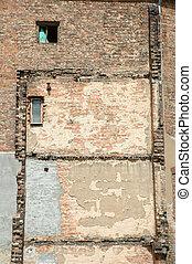 costruzione, parete, vecchio, windows, fondo