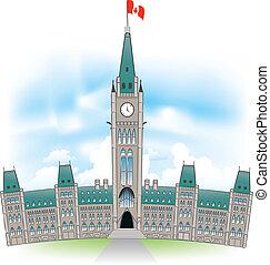 costruzione, parlamento, canadese