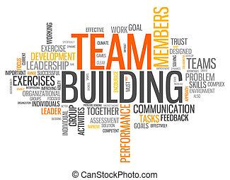 costruzione, parola, nuvola, squadra