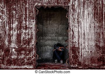 costruzione, pauroso, porta, abbandonato, seduta, parete, molti, persone, un po', mano, fantasma, sangue, uscire