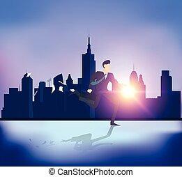 costruzione, persone affari, astratto, fondo., correndo